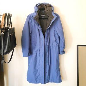 Lands end blue parka coat small winter jacket